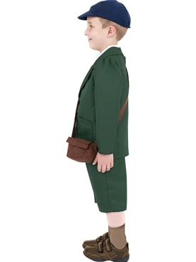 Child World War II Evacuee Boy Costume - Back View
