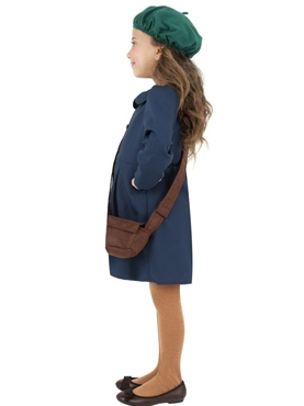 Child World War II Evacuee Girl Costume - Back View