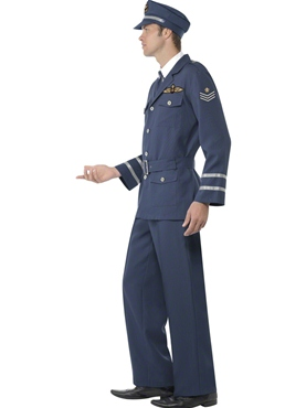 Adult WW2 Air Force Male Captain Costume - Back View