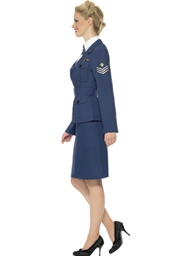 Adult WW2 Air Force Female Captain Costume - Back View