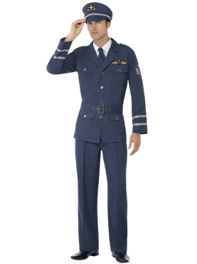 Adult WW2 Air Force Male Captain Costume Couples Costume