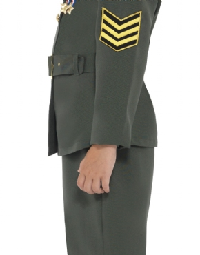 WW2 Army Girl Childrens Costume - Side View