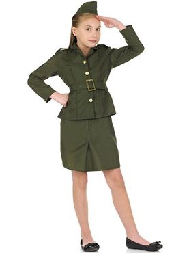 WW2 Army Girl Childrens Costume
