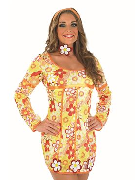 Adult Yellow Hippie Dress Costume - Back View