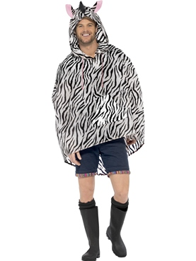 Zebra Party Poncho Festival Costume - Back View