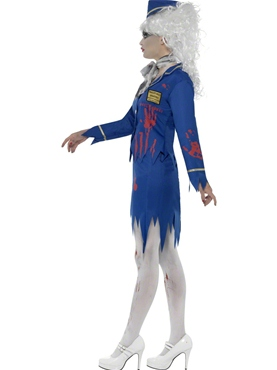 Adult Zombie Air Hostess Costume - Back View