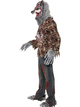 Adult Zombie Alley Werewolf Costume - Back View