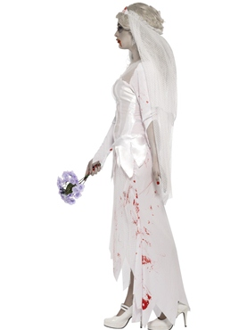 Adult Zombie Bride Costume - Back View