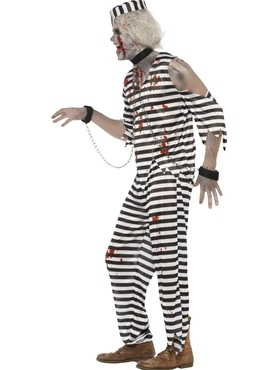 Adult Zombie Convict Male Costume - Back View