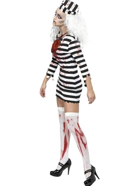 Adult Zombie Convict Lady Costume - Side View