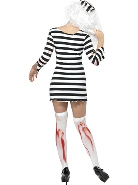 Adult Zombie Convict Lady Costume - Back View