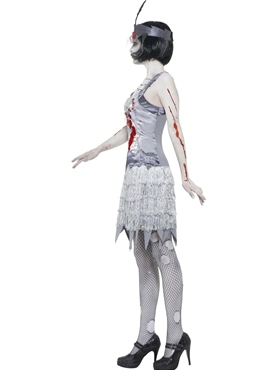 Adult Zombie Flapper Dress Costume - Back View