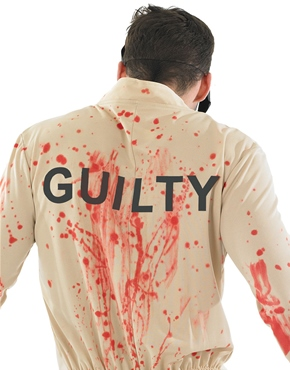 Adult Zombie Male Prisoner Costume - Back View