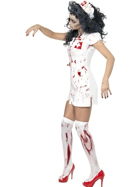 Adult Zombie Nurse Costume - Side View