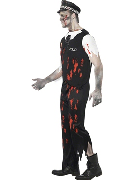 Adult Zombie Policeman Costume - Back View