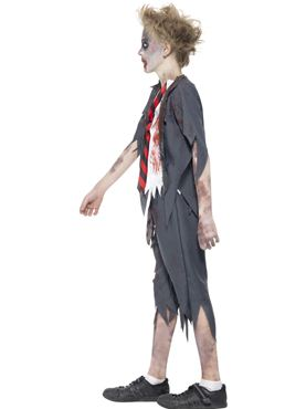 Child Zombie School Boy Costume - Back View
