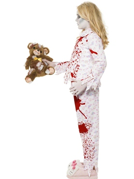 Child Zombie Pyjama Girl Costume - Back View