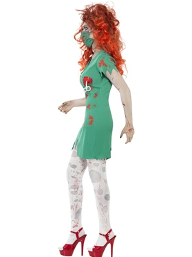 Adult Zombie Scrub Nurse Costume - Back View