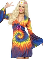 Adult 1960s Ladies Tie Dye Costume