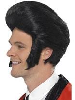 50's Black Quiff Wig [42010]
