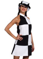 60's Black & White Check Dress & Cap [204131]