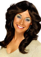 70's Long Wavy Layered Flick Wig Brown