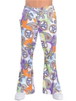 Deluxe Mens Flared Trousers Cool Print
