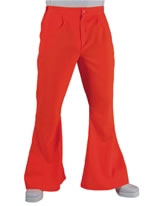Adult 70's Mens Flared Trousers Orange