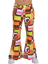 Adult Deluxe Mens Flared Trousers Retro Print