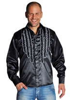 Adult 70's Mens Frilled Black Satin Shirt