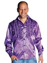 Adult 70's Mens Frilled Purple Satin Shirt