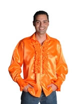Adult 70's Mens Satin Shirt Orange