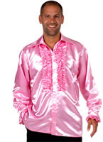 Adult 70's Mens Satin Shirt PINK