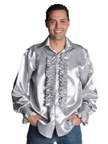 70's Mens Satin Shirt SILVER