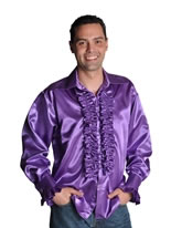 Adult 70's Mens Purple Satin Shirt