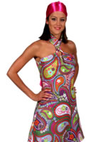 70's Paisley Go Go Halter Dress