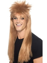 80's Brown Rocker Mullet Wig