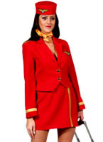 80's Virgin Air Hostess Costume RED