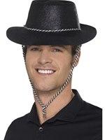 Adult Black Glitter Cowboy Hat
