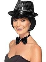 Adult Black Sequin Trilby Hat [44711]