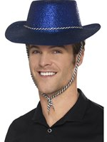 Adult Blue Glitter Cowboy Hat