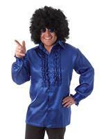 Adult Blue Satin Ruffle Shirt [AC587]