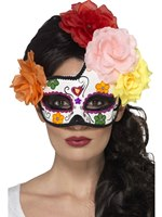 Adult Day of the Dead Crescent Eye Mask