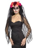 Adult Deluxe Day of the Dead Headband and Veil [44963]