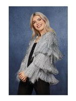 Adult Fever Tinsel Festival Jacket Silver [74002]