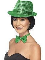 Adult Green Sequin Trilby Hat [44382]