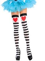 Adult Heart and Stripes Thigh Highs