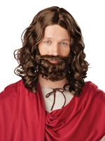 Adult Jesus Wig and Moustache [70754]