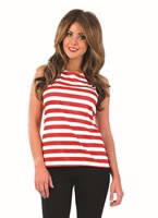 Adult Ladies Red and White Striped Top [FS3646]