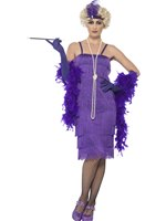 Adult Long Purple Flapper Costume